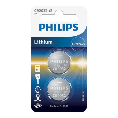 Philips baterie LITHIUM 2ks (CR2032/01B, CR 2032, 3,00V)