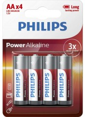 Philips baterie POWER ALKALINE 4ks blistr (LR06P4B/10, AA, 1,5V)