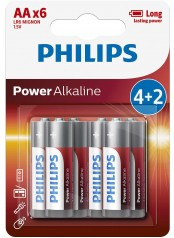 Philips baterie POWER ALKALINE 4+2ks blistr (LR6P6BP/10, AA, 1,5V)